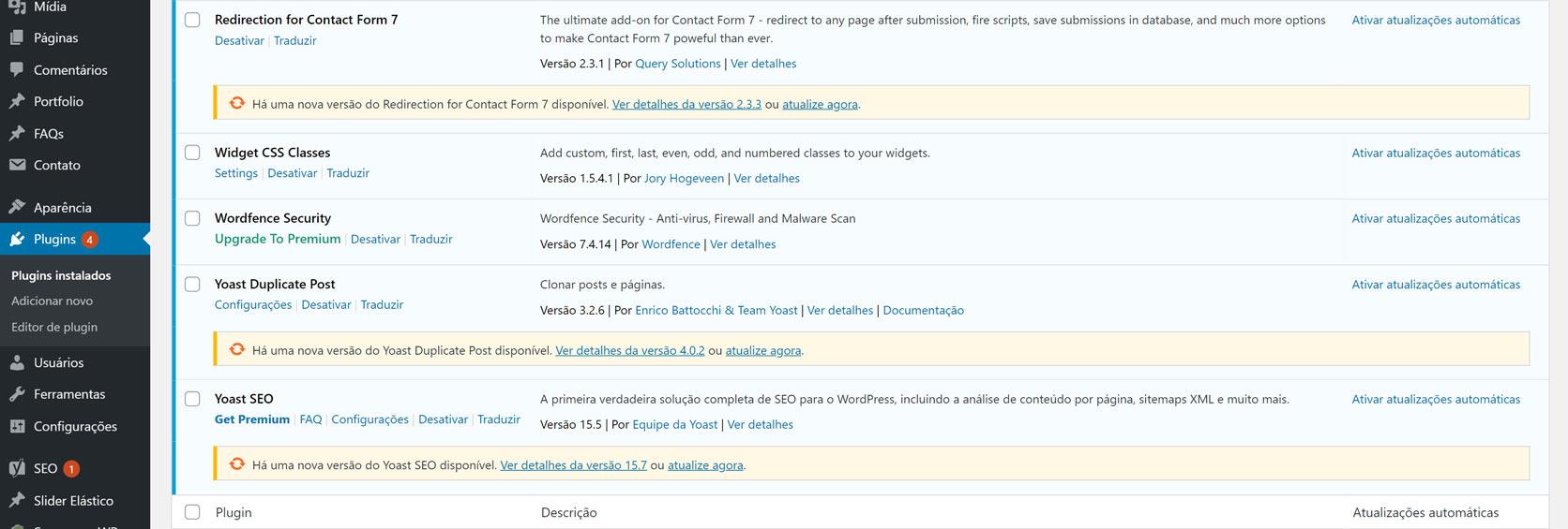 Faça a atualização dos plugins e temas do WordPress
