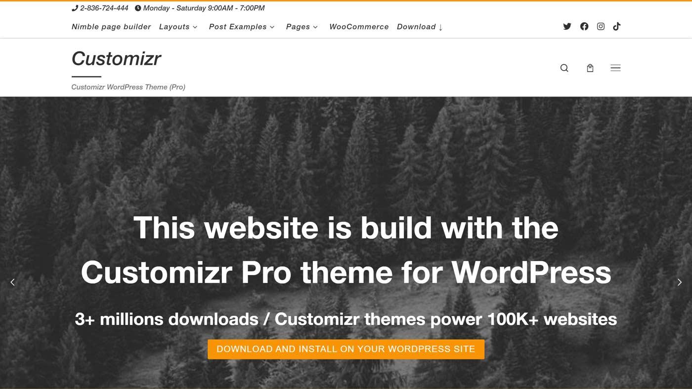 Tema Customizr para WordPress