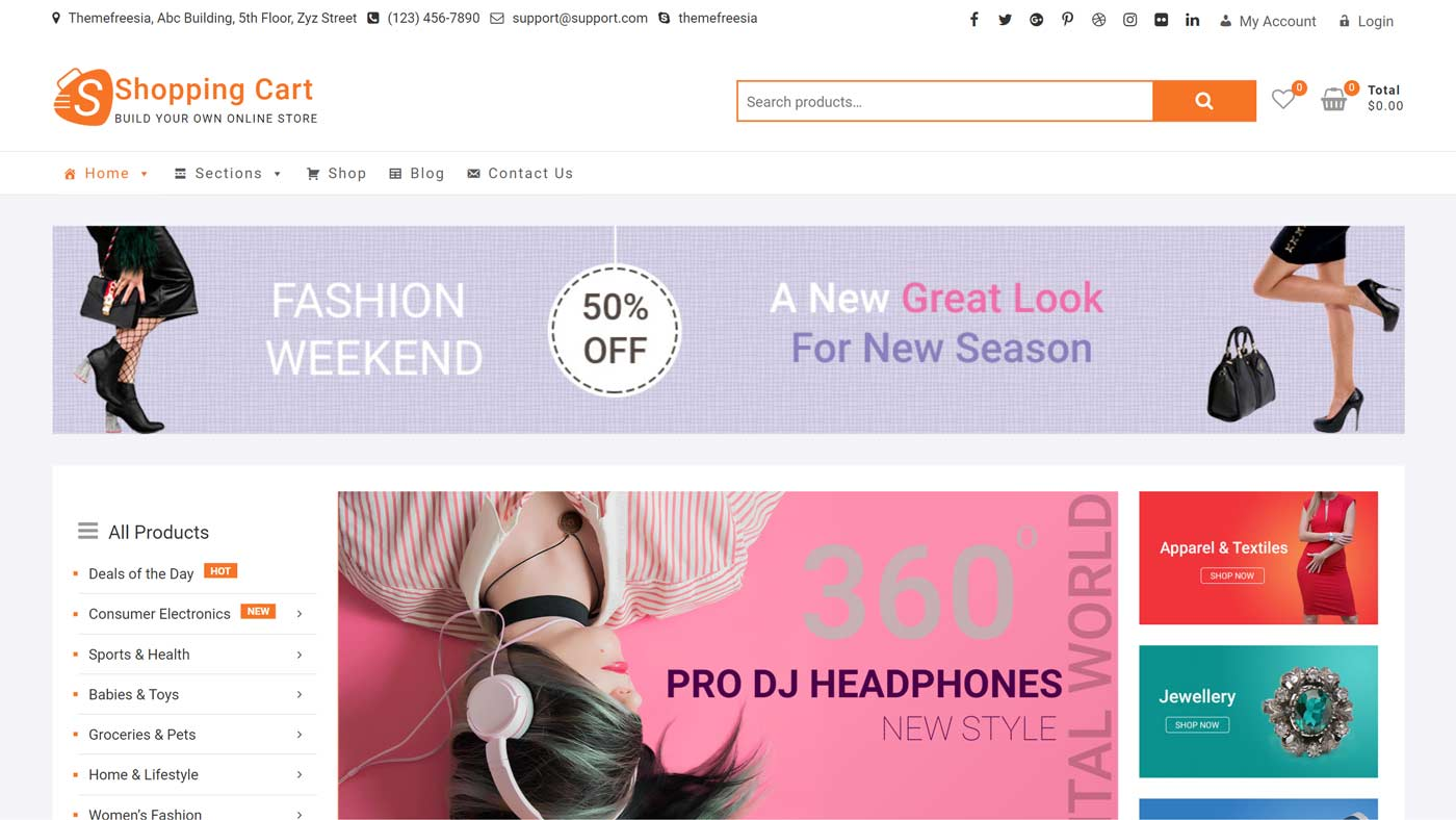 Tema Shopping Cart para WordPress